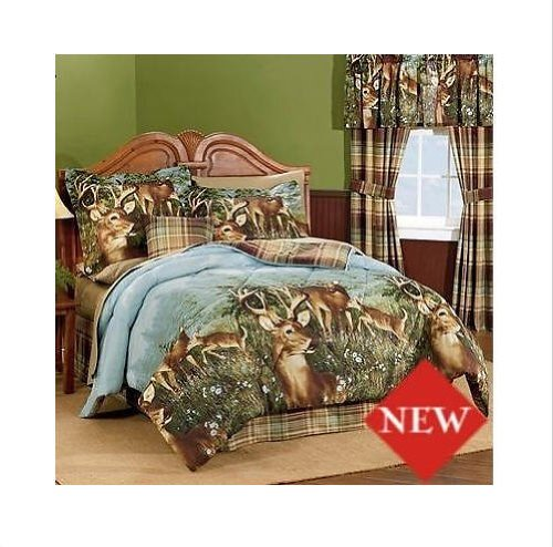 Deer Hunting Cabin Themed Twin Comforter Set (6 Piece Bed In A Bag)