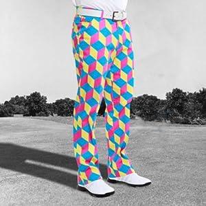 Royal & Awesome 32/32 Men's Loud Pants Knicker Bocker Glory Bright Blocks Golf