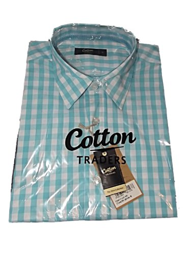 Mens Cotton Traders Ocean Blue & White Checked Casual Shirt ~ Sz M ~ RRP £29.99