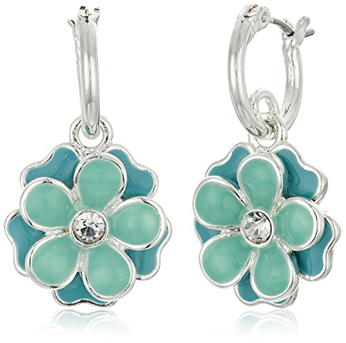 "Napier ""Spring Forward"" Silver-Tone/Turquoise Floral Drop Hoop Earrings"