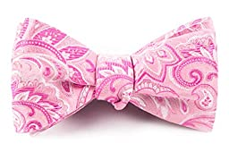 100% Woven Silk Baby Pink Paisley Self-Tie Bow Tie