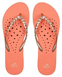 Showaflops Girl\'s Antimicrobial Shower & Water Sandals - Orange/Gold Elongated Heart 13/1