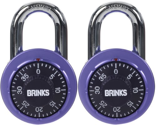 Brinks 164-49204 1-7/8-Inch 48Mm Anodized Aluminium Dial Combination Padlock With Black Dial, 2-Pack