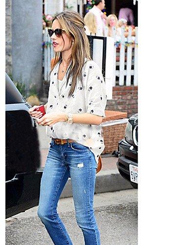 ZXR-femmes-de-travail-Imprim-Sexy-Casual-Vintage-Mignon-T-shirt--manches-courtes-coton-blanc