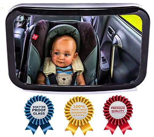 Baby Backseat Mirror for Car - View Infant in Rear Facing Car Seat - Best Newborn Safety With Secure Headrest Double-Strap - Essential Car Seat Accessories - 100% Lifetime Satisfaction Guarantee