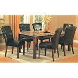 7 Pc Dark Artificial Marble Top Dinette Dinning Set , Dining table 6 Chairs
