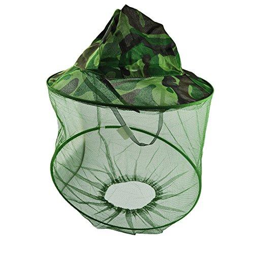 QHGstore Green Camouflage modello Hat Pesca protezione della rete della maglia Cappuccio Anti Mosquito Nylon