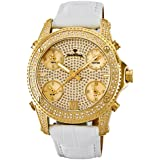 "JBW Men's JB-6244-B ""Jet Setter"" Five Time Zone Diamond 18K Gold Plated Stainless Steel White Leather Watch"