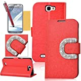 OMIU(TM) Luxury Big C Bling Rhinestone Buckle Silk Pattern Stand Leather Case Cover Fit for Samsung Galaxy Note 2 N7100(Red), With Credit Cards Slots, Screen Protector, Stylus and Cleaning Cloth, All Products By OMIU(TM)