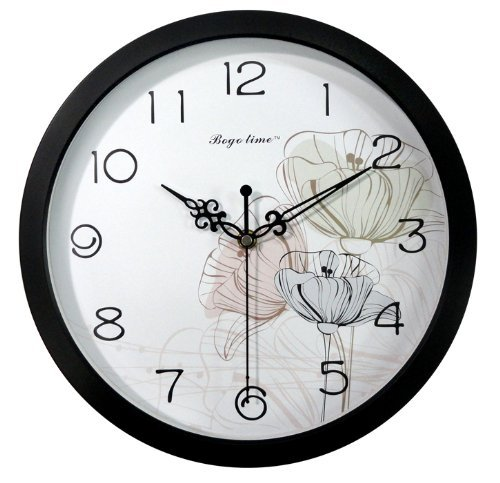 Gardenesque Round 12-Inch Non Ticking Ultra Silent Wall Clock - Flowers And Stalks front-12445