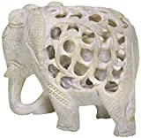*Items on Sale * SouvNear Mom and Me - Mother Elephant with Baby Inside - 5 Inch Stone Elephant Decor Statue - Impossible Hand-Carved Stone Art Sculpture from India