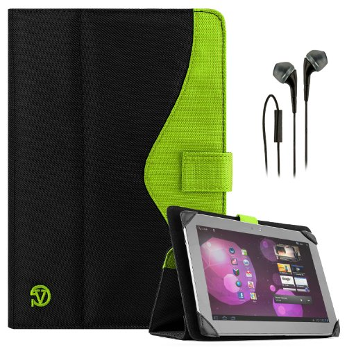 Soho Portfolio Stand - Nylon Detachable Flip Cover Case (Lime Neon Green) For Dell Latitude 10 Tablet Touch 10.1 Inch + Black Handsfree Earphone /Microphone Headphones