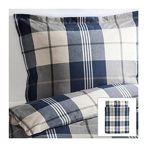 ikea kustruta queen 3pc blue brown white plaid duvet quilt. Black Bedroom Furniture Sets. Home Design Ideas