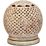 Artist Haat Handcarved Soapstone Round Shaped Small Tea Light Candle Holder With Jali - Lattice Work (Beige, 10...
