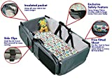 3 in 1 Diaper Bag - Travel Bassinet - Change Station by BabyGarb. With EZ Travel Beds fold-n-go design, setup and put away is easy. A Lounge to go, Tote Bag, Infant Carrycot, Nursery Porta Crib.
