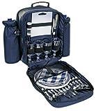 Picknickrucksack mit Inhalt für 4 Personen mit integrierter Kühltasche