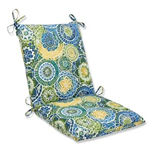 Pillow Perfect Outdoor Omnia Lagoon Squared Corners Chair Cushion from Pillow Perfect