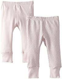 Kushies Unisexbaby Newborn Everday Mocha Layette 2 Pack Pants, Pink Solid/Dots, 3 Months