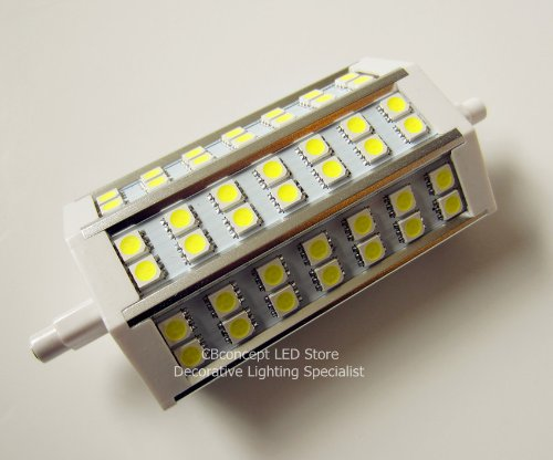 Cbconcept® R7S J118 118Mm 42 Smd5050 Led 110V 120V 220V Floodlight Replacement Lamp - Warm White - 10W 780Lm 85-265V Ac