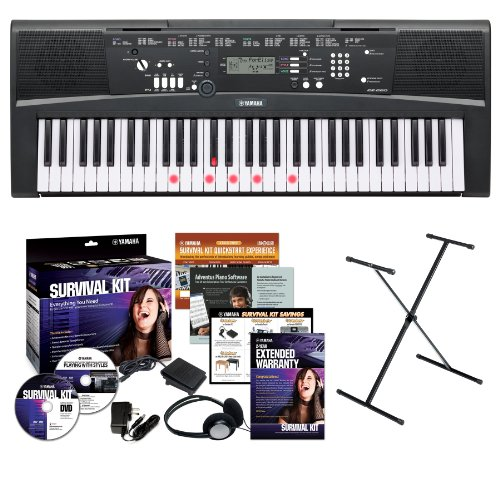 Yamaha EZ220 61-Lighted Key Premium Portable Keyboard with Yamaha X-Style Stand and Survival Kit (Includes Power Adapter,Headphones and 2 Year Full Warranty)