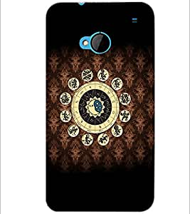PrintDhaba Zodiac Wheel D-6056 Back Case Cover for HTC ONE M7 (Multi-Coloured)