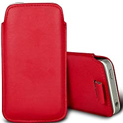 PU Leather Pull Tab Pouch Protective Case for Motorola Moto E - Red
