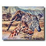 African Elephant Zebra Giraffe Animal Wildlife Home Decor Wall Picture 16x20 Art Print