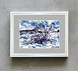 1 0 x 7, Christmas winter landscape with bush under snow, watercolor original by Andrejs Bovtovics.