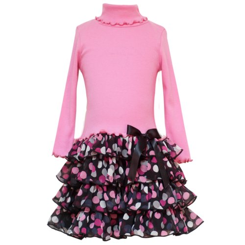 Size-7 RRE-56891F PINK KNIT TO MULTI-TIERED DOT PRINT CHIFFON DROP WAIST Fall School Girl Party Dress,F456891 Rare Editions TWEEN GIRLS