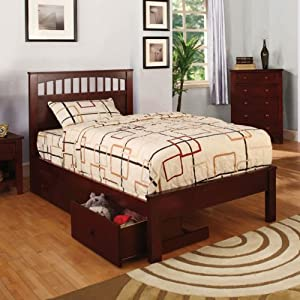 Carus mission style cherry finish full size for Mission style bed frame plans
