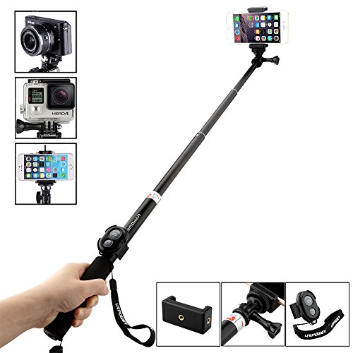 URPOWER discount duty free Selfie Stick,URPOWER® handheld monopod for Smartphone, GoPro Hero 1 2 3 3+ 4, Digital Camera, POV, Camera Canon Nikon Sony Panasonic Olympus and more(Remote Control for Smartphone Only)