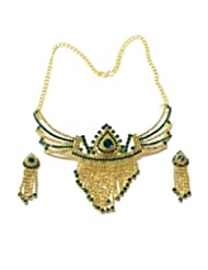 Montana Golden Coloured Stone Necklace With Stone Jalar For Women