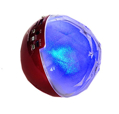 Saomai® Blue Tooth Color Changing Ball Speaker Mini Wireless Speaker for Musicplayer with Fm Radio Tf Remote Control (Red)