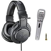 Audio Technica ATH-M20x Professional Headphones with Falcon XM4 Professional Voice Cord Microphone Bundle