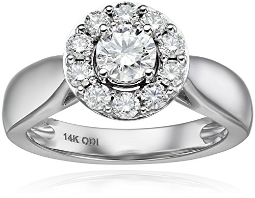 IGI-Certified-14k-White-Gold-Round-Diamond-Halo-Solitaire-Plus-Wedding-Ring-Set-1cttw-H-I-Color-I1-I2-Clarity