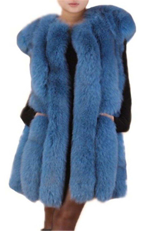 YR Lover Damen Warm Echter 100% Ganze Haut Fuchs Pelz Winter Weste Mantel online bestellen