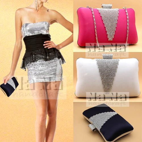MZZ SIL070 Stunning Rhinestoned Hard Case Satin Evening Purse Party Prom Clutch