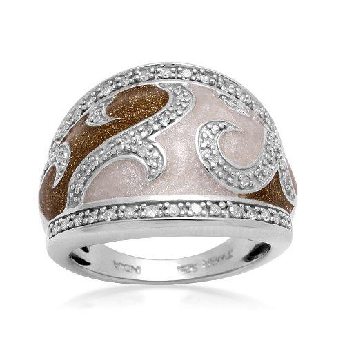 Sterling Silver White and Gold Shimmer Enamel Diamond Ring (1/5 cttw, I-J Color, I2-I3 Clarity), Size 5