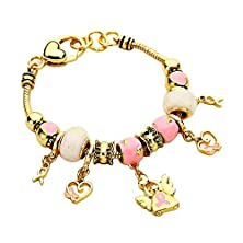 buy Pink And Golden Ribbon Angel Wings Heart Breast Cancer Awareness Charm Bracelet Gold Tone