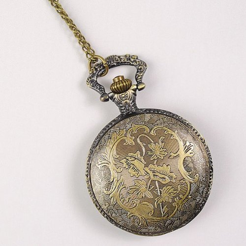 Женские карманные часы Eeleva Steampunk Bronze Engraved Starmoon Electronic Pocket Watch