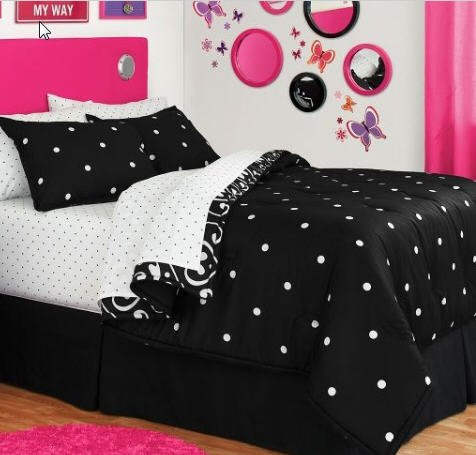 Black & White Polka Dot Reversible Full Comforter Set (8 Piece Bed In A Bag)