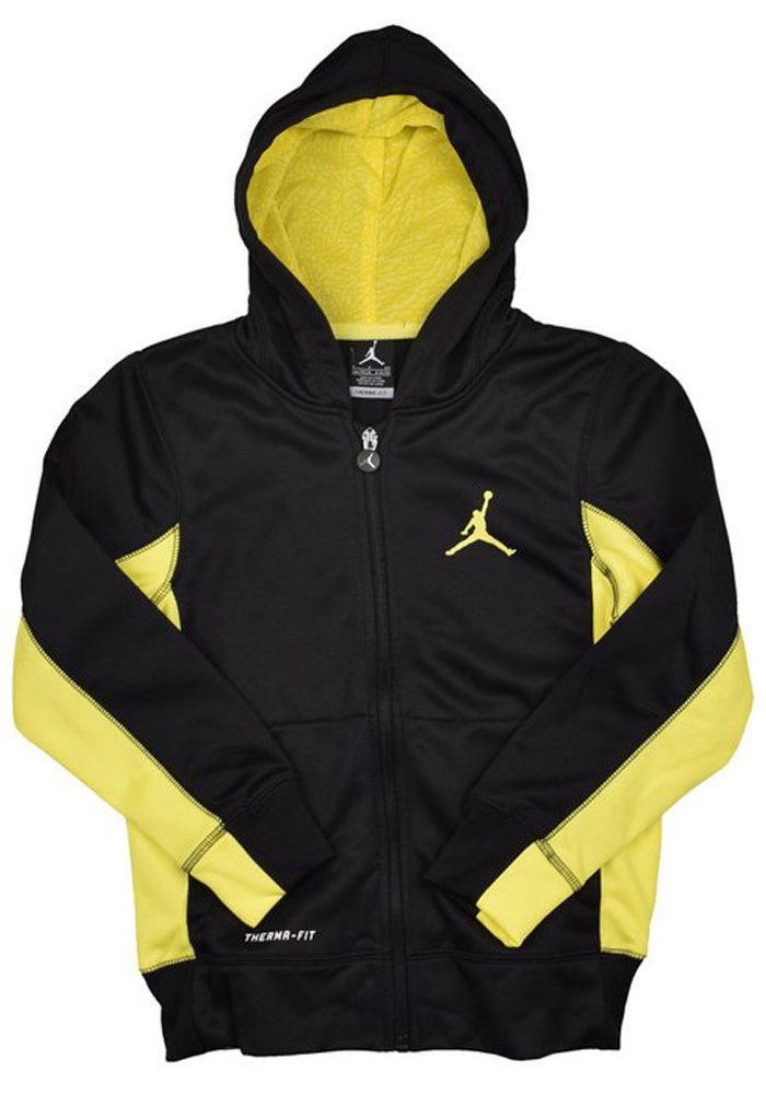Jordan Boys Youth Air Jumpman Hoodie Jacket Black/Yellow худи boys hoodie