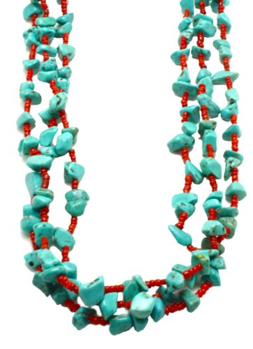 Three Strand Long Turquoise Nugget Necklace with Coral Beads