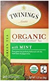 Twinings, Organic Green Tea with Mint, 20 Tea Bags, 1.27 oz (36 g)