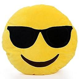 YIWA 1 X Round Oi Emoji Smiley Emoticon Cushion Pillow Stuffed Plush Toy Doll Yellow(very Cool+free Valentine\'s Day Gifts) Sunglasses, 32cm