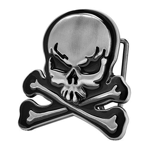 Buckle Rage Adult Mens Skull Crossbones Skeleton Demon Belt Buckle Black Silver