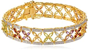 """Yellow Gold Plated Sterling Silver Multi-Gemstone Bracelet, 7.25"""""""