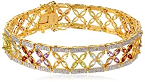Yellow Gold Plated Sterling Silver Multi-Gemstone Bracelet, 7.25""