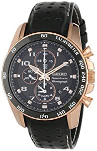 """Seiko Men's SNAE80 """"Sportura"""" Rose Gold Ion-Plated Stainless Steel and Black Leather Watch"""