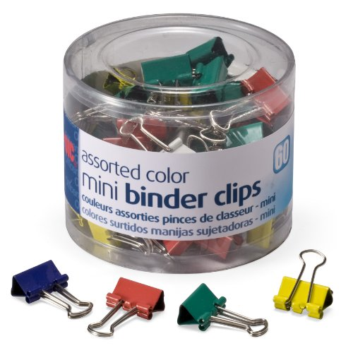 OfficemateOIC Mini Binder Clips, Assorted Colors, 60 Clips per Tub (31024)